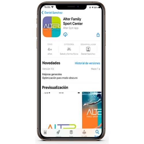 Celular con la aplicación de Alter Familiy Sport Center