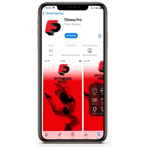 Celular con la aplicación de Fitness Pro